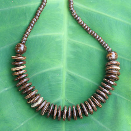 Artisans source materials locally for their coconut shell jewelry